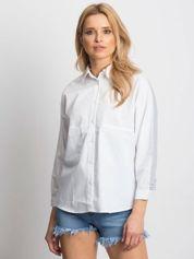 Biała koszula ze wstawkami w paski