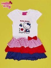 Biała sukienka dla dziewczynki z kolorowymi falbankami HELLO KITTY
