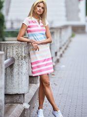 Biała sukienka polo w kolorowe paski