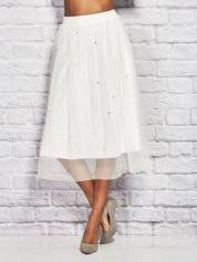 Biała tiulowa spódnica midi z perełkami