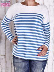 Forever Pink Biało-niebieska bluzka w paski PLUS SIZE