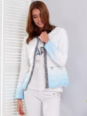 Biało-niebieska pikowana kurtka ombre z ozdobnym wykończeniem