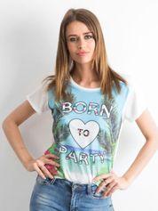 Biało-niebieski t-shirt Palmbeach