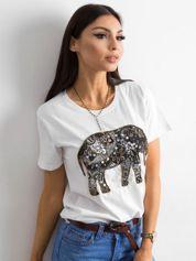 Biały bawełniany t-shirt z aplikacją