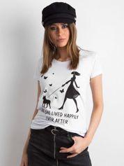 Biały bawełniany t-shirt z printem