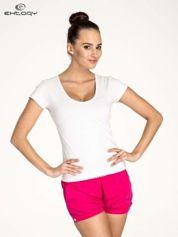 Biały damski t-shirt sportowy z dekoltem U
