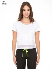Biały gładki t-shirt z przeszyciami na dole