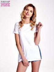 Biały gładki t-shirt z rozcięciami na bokach