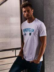 Biały t-shirt męski z napisami BROOKLYN NEW YORK SPIRIT 86