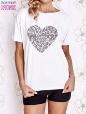 Biały t-shirt z napisem JE T'AIME i dekoltem na plecach