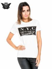 Biały t-shirt z napisem NYC Brooklyn