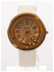 Biały zegarek damski z cyrkoniami na skórzanym, lakierowanym pasku