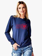 Bluza damska patriotyczna z nadrukiem Orła Białego granatowa