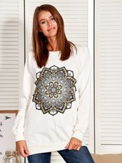 Bluza damska z orientalnym nadrukiem ecru