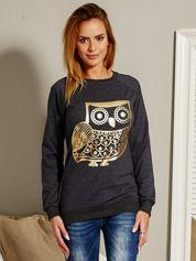 Bluza damska z sową ciemnoszara