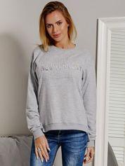 Bluza damska z wypukłym napisem NEW YORK CITY szara