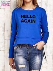 Bluza lace up niebieska z napisem