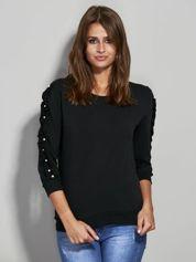 Bluza z falbanką na rękawach czarna