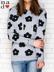 Bluza z kapturem motyw kwiatowy szaro-czarna