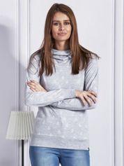 Bluza z kapturem w serduszka i kotwice szara