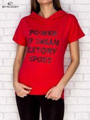 Bluza z krótkim rękawem i napisem POWER OF DREAM ciemnoróżowa