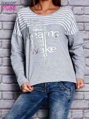 Bluza z motywem pasków i napisem jasnoszara