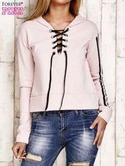 Bluza z wiązaniem jasnoróżowa