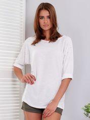 Bluzka biała z perełkami i podwijanymi rękawami