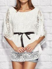 Bluzka damska koronkowa z wiązaniem biała
