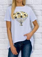 Bluzka damska z cekinową aplikacją balonów jasnoniebieska