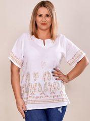 Bluzka koszulowa oversize z motywem paisley biała PLUS SIZE