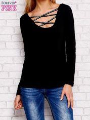 Bluzka lace up z długim rękawem czarna