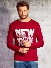 Bluzka męska z napisem NEW YORK CITY bordowa