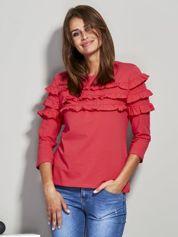 Bluzka z falbankami przy dekolcie czerwona