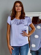 Błyszczący satynowy t-shirt fioletowy