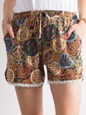 Boho szorty z folkowym nadrukiem brązowe