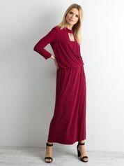 Bordowa sukienka maxi z wycięciem