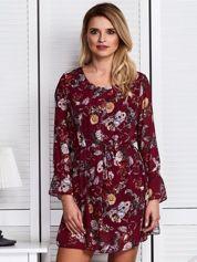 Bordowa zwiewna sukienka floral print
