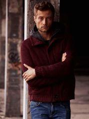 Bordowy sweter męski z podszewką i kapturem FUNK N SOUL