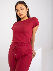 Bordowy t-shirt damski