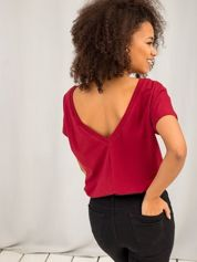 Bordowy t-shirt z dekoltem na plecach