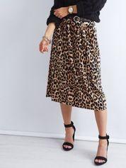 Brązowa plisowana spódnica midi z motywem zwierzęcym