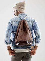Brązowy materiałowy plecak worek męski