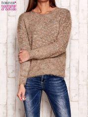 Brązowy melanżowy sweter z dłuższym włosem
