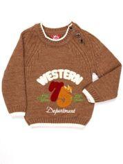 Brązowy sweter dla chłopca z napisem