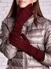 Burgundowe długie rękawiczki z metalizowaną nicią