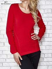 Ciemnoczerwona bluzka sportowa z dekoltem U