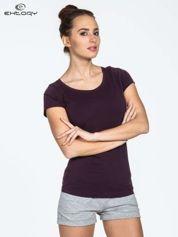 Ciemnofioletowy damski t-shirt sportowy basic PLUS SIZE
