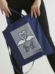 Ciemnoniebieska bawełniana torba z nadrukiem flaminów