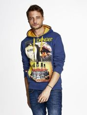 Ciemnoniebieska bluza męska z kapturem z napisem DANGER